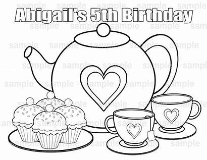 Tea Coloring Party Pages Printable Boston Birthday