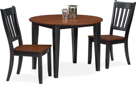 nantucket drop leaf table and 2 slat back chairs black