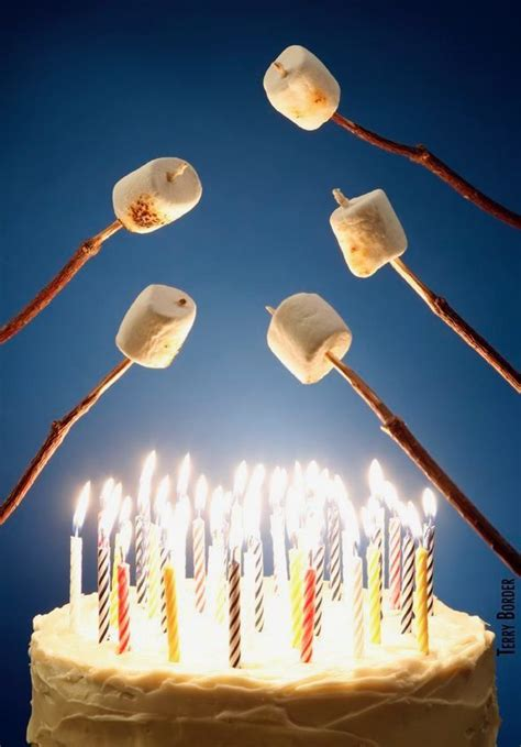 happy birthday roasting marshmallows  candles fire