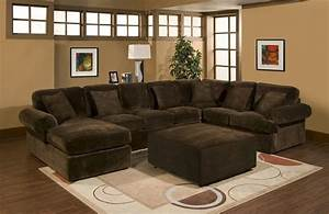 Large chaise sectional with cocktail ottoman in super for Super comfortable sectional sofa