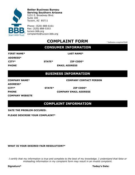 business complaint form  word  format