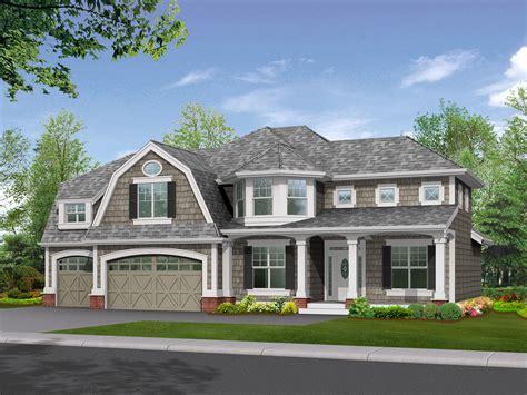 stately shingle style home plan  options jd  floor master suite bonus room cad