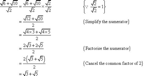 rationalisation of the denominator