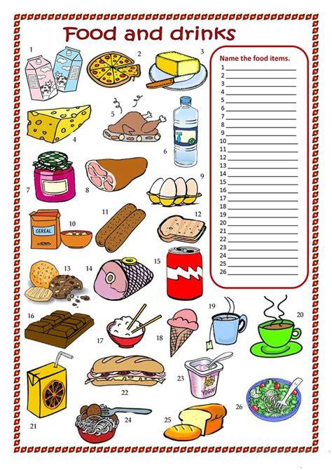 food  drinks worksheet worksheet  esl printable