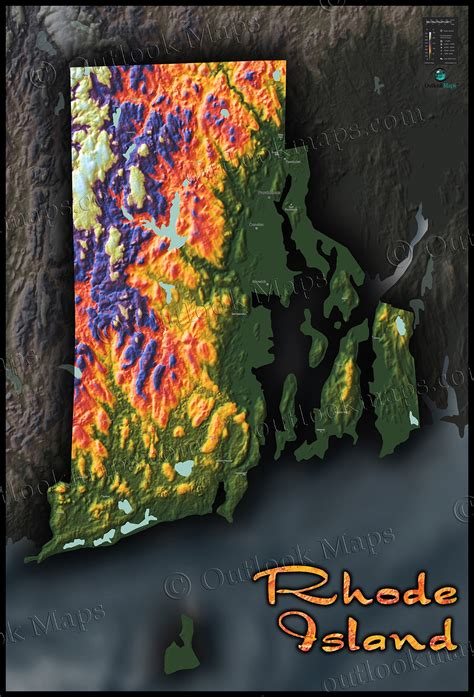 rhode island map vibrant topography physical features