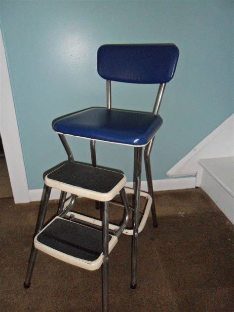 vintage cosco royal blue kitchen step stool chair
