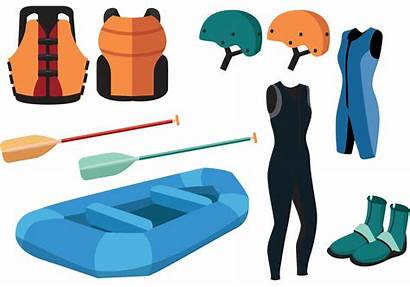 Rafting River Equipment Water Vector Whitewater Clipart