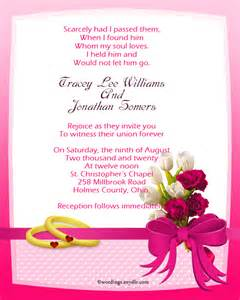 christian wedding invitations christian wedding invitation wording sles wordings and messages