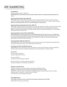 Industrial Design Manager Resume by Jin Namkung Industrial Designer In Nyc Ny