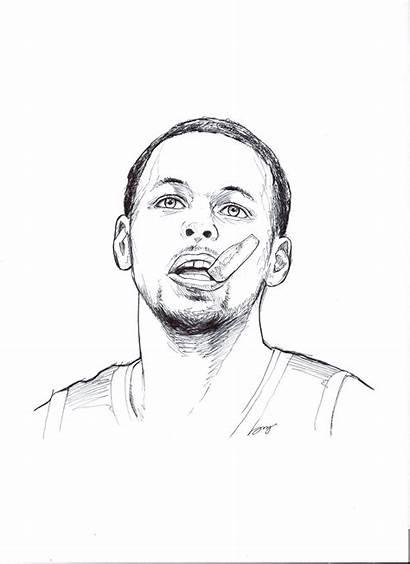 Curry Stephen Coloring Pages Steph Drawings Basketball