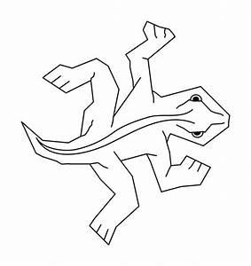 Simple Black On White Line Art Of Escher39s Famous Lizard