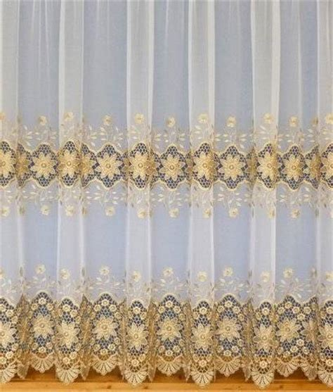 Gold And White Curtains Uk by Eliza White Gold Emboridered Voile Net Curtain 2 Curtains