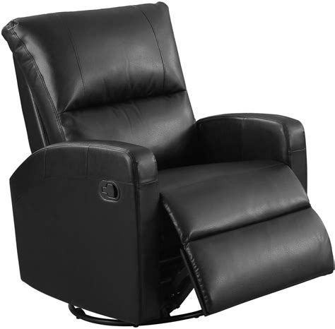 black bonded leather swivel glider recliner 8084bk monarch