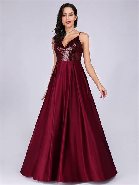 Women Deep V neck Sequins Formal Evening Prom Dresses ...