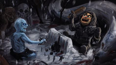 game  thrones humor white walkers wolf artwork