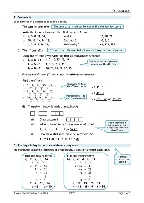 sequences review sheet