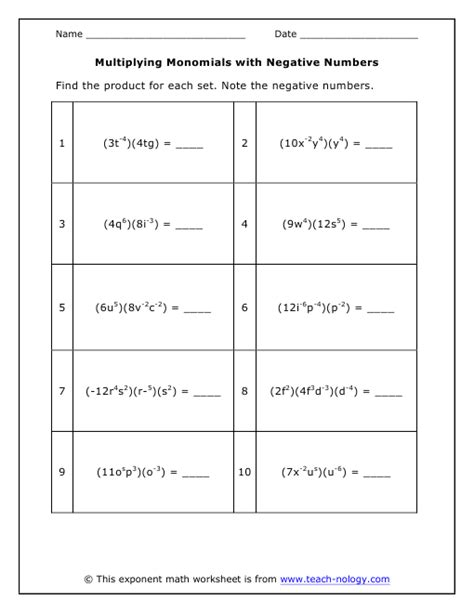 multiply monomials with negatives