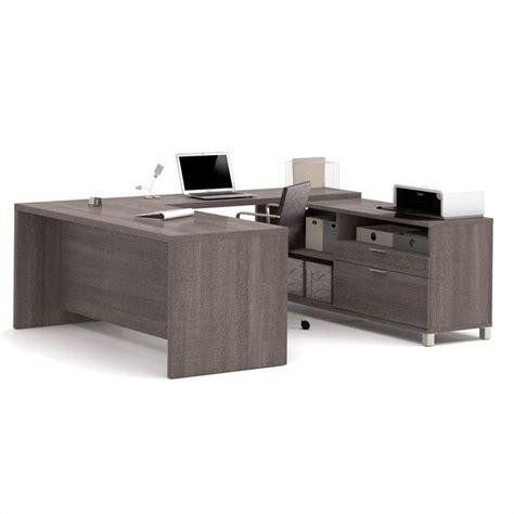 u shaped computer desk bestar pro linea u shaped computer desk in bark grey