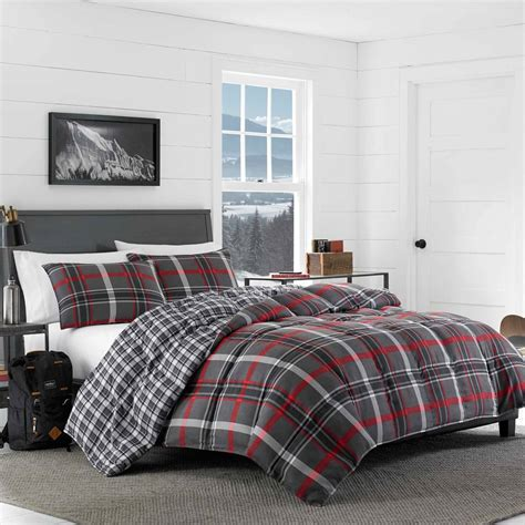 eddie bauer willow plaid reversible comforter set boscovs