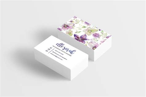 premade watercolor floral namecard business card design