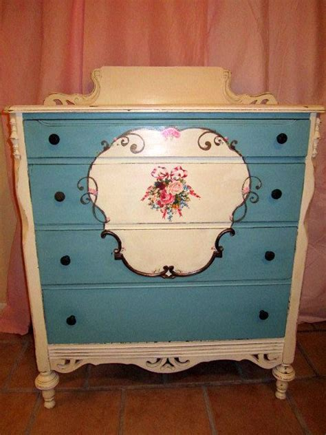 shabby chic upcycled furniture quot flower garden quot painted dresser shabby chic painted dresser chest of drawers painted or