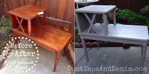 CeCe Caldwell Seattle Mist Side Table Before and After