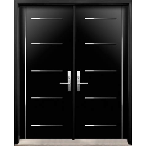 Modern Double Exterior Doors with Stainless Steel Stripes