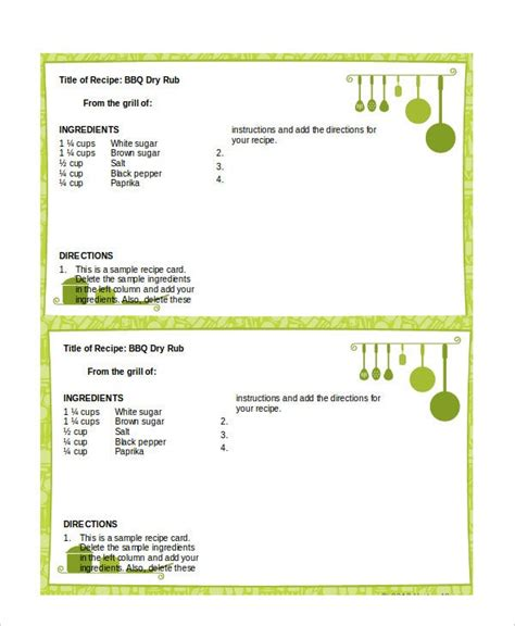 word recipe template   word documents
