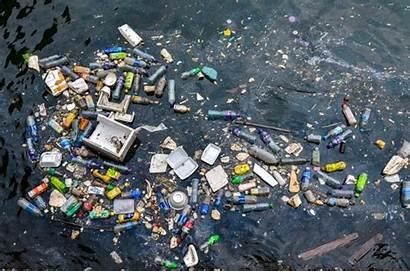 Trash Floating Garbage Island Between Ocean Hawaii