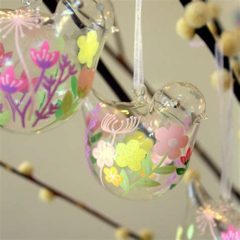 easter decorations set of two glass bird easter decorations by ella james
