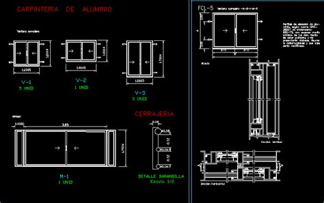 sliding window aluminium dwg detail  autocad