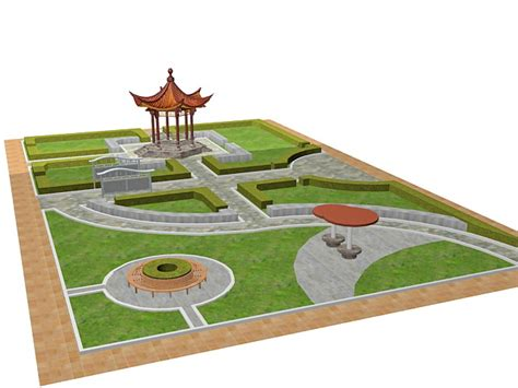 formal garden design 3d model 3ds max files free