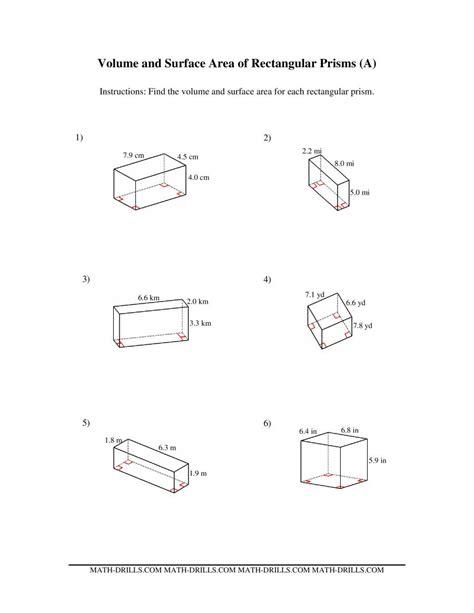 volume  surface area  rectangular prisms