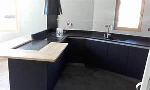 cuisine moderne gris anthracite mat et bois massif With cuisine gris et bois