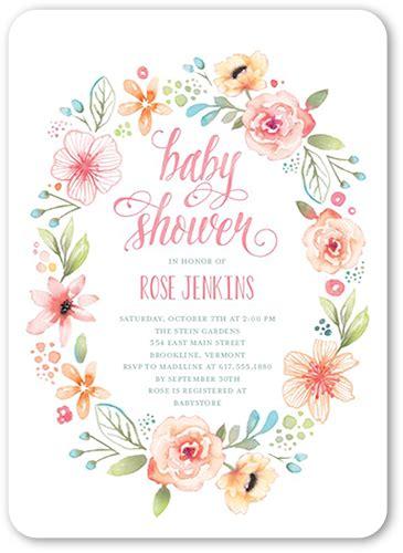 wild flower wreath  unique baby shower invitations
