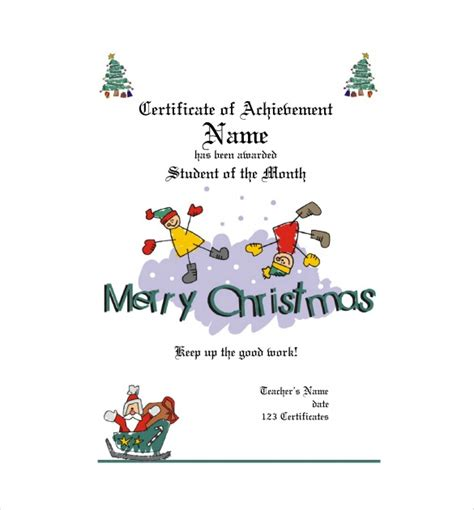 kids christmas certificate template  images