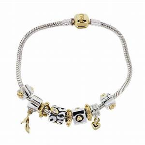 Pandora 14k Yellow Gold and Sterling Silver Charm Bracelet