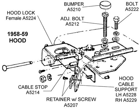 Car Latch Diagram by 1958 59 Latch Diagram View Chicago Corvette Supply