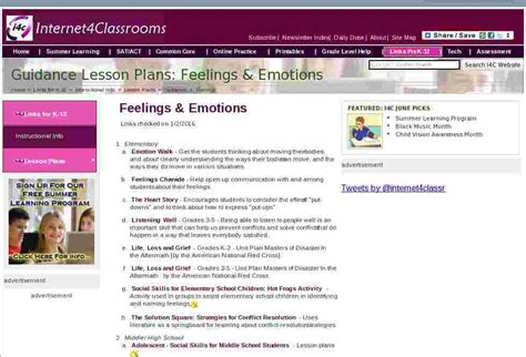 Feelings Guidance Lesson Plan Resources At Internet 4