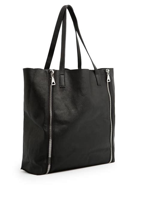 lyst mango zip shopper bag  black