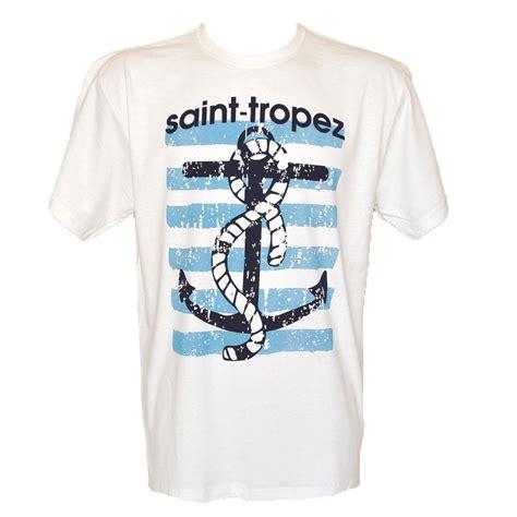 men t shirt saint tropez stripes anchor white