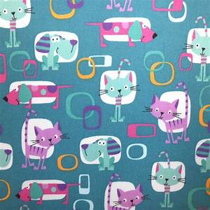 Easy Wash & Care Fabric- Retro Cat Teal, Pink & Purple at ...