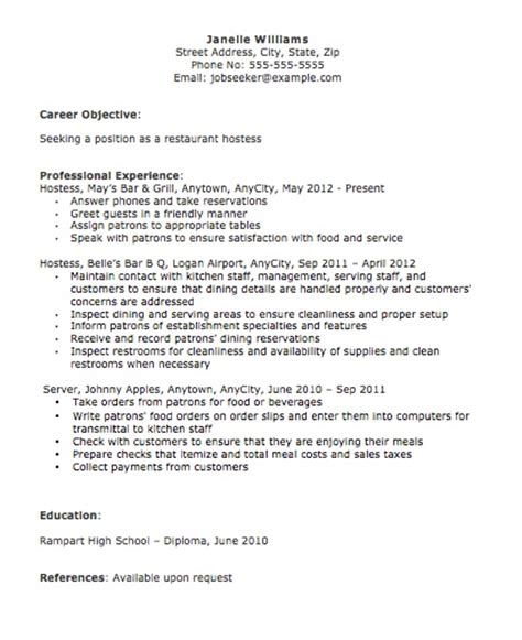 Host Description Resume by Hostess Description For Resume Slebusinessresume
