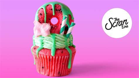 watermelon freakshake cupcakes  scran  youtube