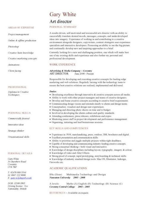 art director cv sample highly creative work  creative directors  develop design solutions