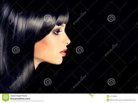 How To Shiny Black Hair by The In Profile With Black Shiny Hair Stock