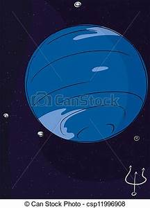 The planet neptune with four of its largest moons vector ...