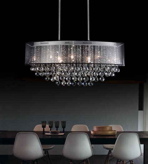 Chandelier With Black Shade And Drops by Cwi Lighting 26 Inch Oval Pendant Chandelier With Black