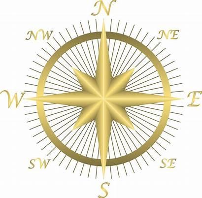 Compass Clip Golden East Map Directions Clipart