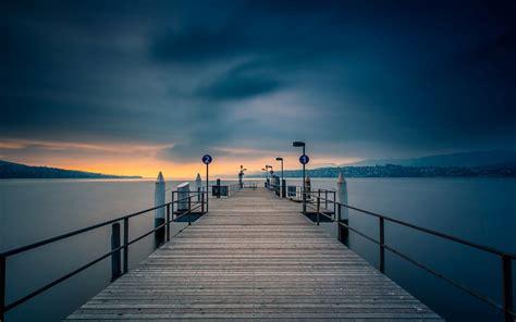 nature pier bridge  river water sunset night beautiful